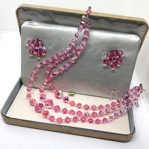 🆕Vintage Pink AB Crystal Necklace & Earrings Set